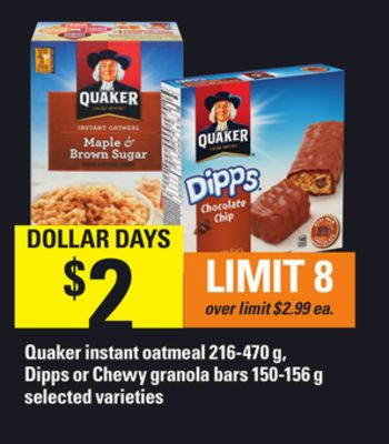 Quaker Instant Oatmeal - 216-470 G - Dipps Or Chewy Granola Bars - 150-156 G