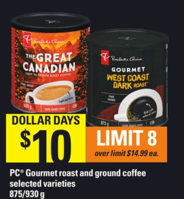 PC Gourmet Roast And Ground Coffee.875/930 g