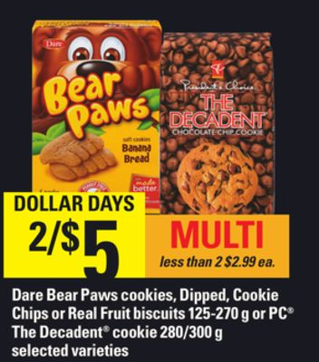 Dare Bear Paws Cookies - Dipped - Cookie Chips Or Real Fruit Biscuits - 125-270 g or PC The Decadent Cookie - 280/300 g