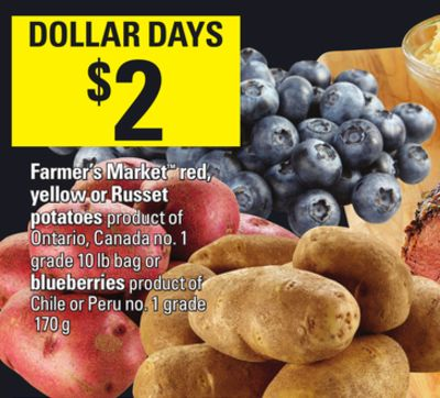 Farmer's Market Red - Yellow Or Russet Potatoes - 10 Lb Bag Or Blueberries - 170 G