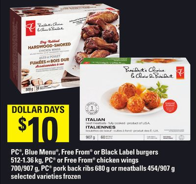 PC - Blue Menu - Free From Or Black Label Burgers - 512-1.36 Kg - PC Or Free From Chicken Wings - 700/907 g - PC Pork Back Ribs - 680 g Or Meatballs - 454/907 g