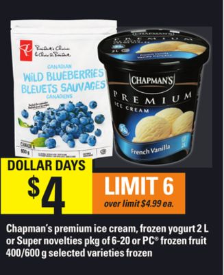 Chapman's Premium Ice Cream - Frozen Yogurt - 2 L Or Super Novelties - Pkg Of 6-20 Or PC Frozen Fruit - 400/600 G