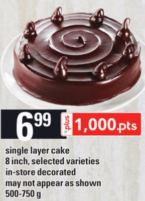 Single Layer Cake - 8 Inch - 500-750 g