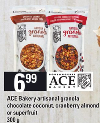 Ace Bakery Artisanal Granola Chocolate Coconut - Cranberry Almond Or Superfruit - 300 g