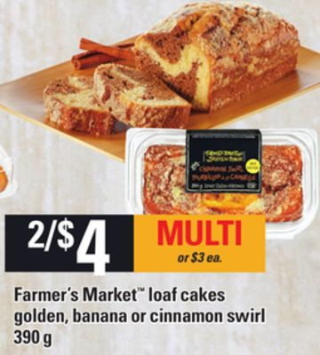 Farmer's Market Loaf Cakes Golden - Banana Or Cinnamon Swirl - 390 G
