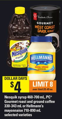 Nesquik Syrup - 460-700 Ml - PC Gourmet Roast And Ground Coffee - 330-343 Ml Or Hellmann's Mayonnaise - 710-890 Ml