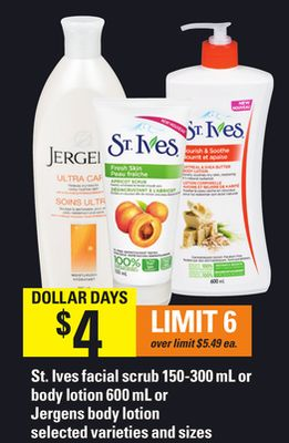 St. Ives Facial Scrub 150-300 Ml Or Body Lotion 600 Ml Or Jergens Body Lotion