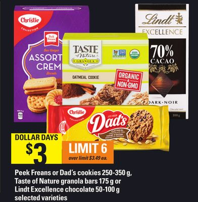 Peek Freans Or Dad's Cookies - 250-350 G - Taste Of Nature Granola Bars - 175 G Or Lindt Excellence Chocolate - 50-100 G