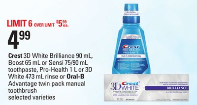 Crest 3D White Brilliance - 90 Ml - Boost - 65 Ml Or Sensi - 75/90 Ml Toothpaste - Pro-health - 1 L Or 3D White 473 Ml Rinse Or Oral-b Advantage Twin Pack Manual Toothbrush