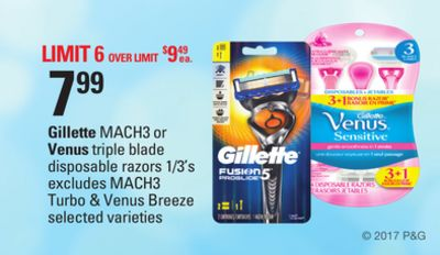 Gillette Mach3 Or Venus Triple Blade Disposable Razors 1/3's Excludes Mach3 Turbo & Venus Breeze