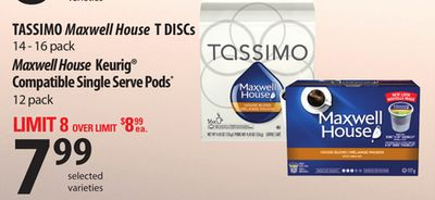 Tassimo Maxwell House T Discs - 14 - 16 Pack Maxwell House Keurig Compatible Single Serve PODS - 12 Pack