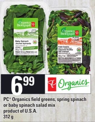 PC Organics Field Greens - Spring Spinach Or Baby Spinach Salad Mix - 312 g
