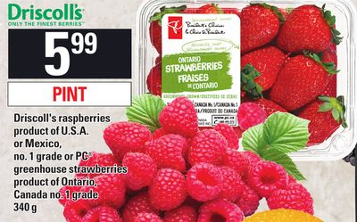 Driscoll's Raspberries - PC Greenhouse Strawberries - 340 G