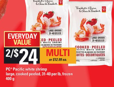 PC Pacific White Shrimp Large - Cooked Peeled - 31-40 Per Lb - 400 g