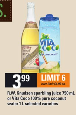 R.w. Knudsen Sparkling Juice 750 Ml Or Vita Coco 100% Pure Coconut Water 1 L