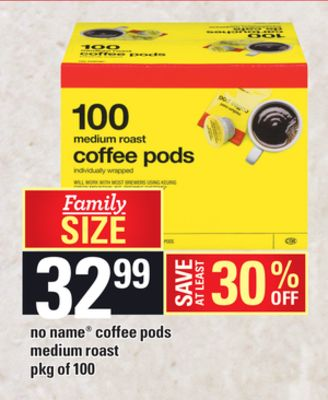 No Name Coffee PODS Medium Roast - Pkg of 100