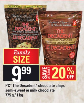 PC The Decadent Chocolate Chips Semi-sweet Or Milk Chocolate - 775 G / 1 Kg
