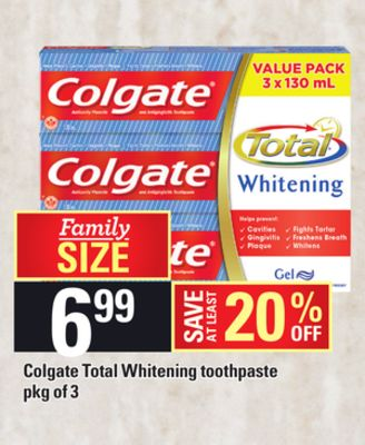 Colgate Total Whitening Toothpaste - Pkg of 3