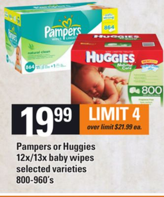 Pampers Or Huggies 12x/13x Baby Wipes - 800-960's