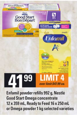Enfamil Powder Refills 992 g - Nestlé Good Start Omega Concentrate 12 X 359 mL - Ready To Feed 16 X 250 mL or Omega Powder 1 Kg