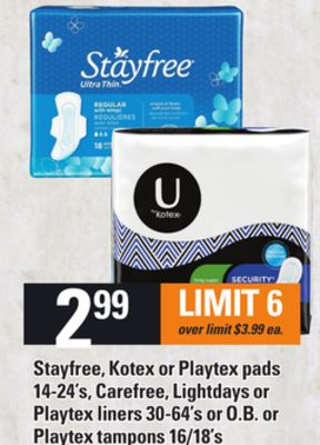 Stayfree - Kotex Or Playtex Pads 14-24's - Carefree - Lightdays Or Playtex Liners 30-64's or O.b. or Playtex Tampons 16/18's