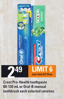 Crest Pro-health Toothpaste 80-130 Ml Or Oral-b Manual Toothbrush