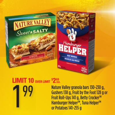Nature Valley Granola Bars - 130-230 G - Gushers - 138 G - Fruit By The Foot - 128 G Or Fruit Roll-ups - 141 G - Betty Crocker - Hamburger Helper - Tuna Helper Or Potatoes - 141-255 G
