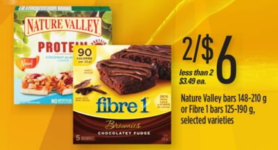Nature Valley Bars - 148-210 g or Fibre 1 Bars - 125-190 g