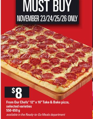 From Our Chefs 12'' X 16in Take & Bake Pizza - 550-650 g