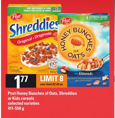 Post Honey Bunches Of Oats - Shreddies Or Kids Cereals.411-550 g