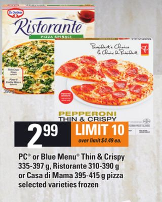 PC Or Blue Menu Thin & Crispy - 335-397 G - Ristorante - 310-390 G Or Casa Di Mama - 395-415 G Pizza