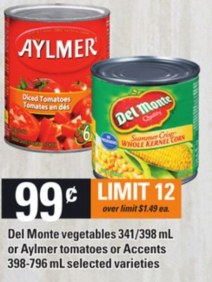 Del Monte Vegetables 341/398 mL Or Aylmer Tomatoes Or Accents 398-796 mL