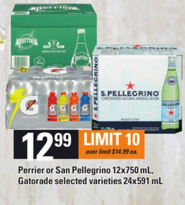 Perrier Or San Pellegrino - 12x750 mL - Gatorade - 24x591 mL