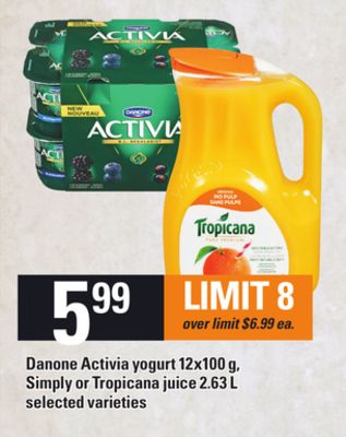 Danone Activia Yogurt 12x100 g - Simply Or Tropicana Juice 2.63 L
