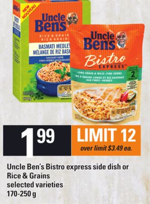 Uncle Ben's Bistro Express Side Dish Or Rice & Grains - 170-250 g