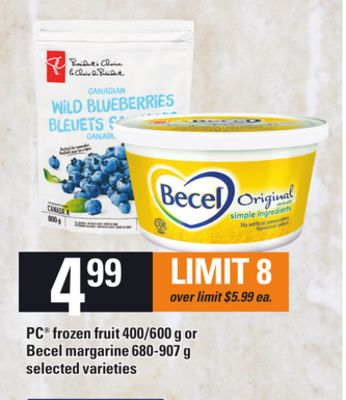 PC Frozen Fruit 400/600 G Or Becel Margarine 680-907 G
