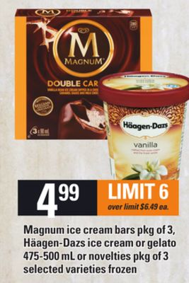 Magnum Ice Cream Bars - Pkg Of 3 - Häagen-dazs Ice Cream Or Gelato - 475-500 Ml Or Novelties - Pkg Of 3