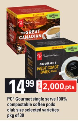 PC Gourmet Single Serve 100% Compostable Coffee PODS - Pkg of 30