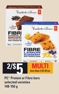 PC Protein Or Fibre Bars - 148-150 g