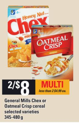 General Mills Chex Or Oatmeal Crisp Cereal - 345-480 g