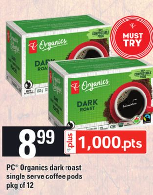 PC Organics Dark Roast Single Serve Coffee PODS - Pkg of 12