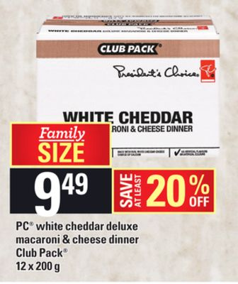 PC White Cheddar Deluxe Macaroni & Cheese Dinner - 12 X 200 g