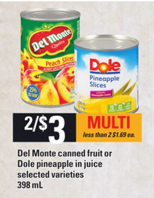 Del Monte Canned Fruit Or Dole Pineapple In Juice - 398 mL