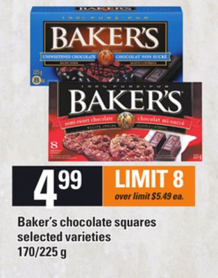 Baker's Chocolate Squares - 170/225 g