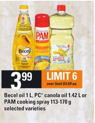 Becel Oil - 1 L - PC Canola Oil - 1.42 L or Pam Cooking Spray - 113-170 g