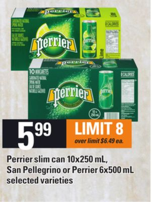 Perrier Slim Can 10x250 mL - San Pellegrino or Perrier 6x500 mL