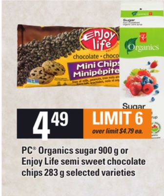 PC Organics Sugar - 900 G Or Enjoy Life Semi Sweet Chocolate Chips - 283 G