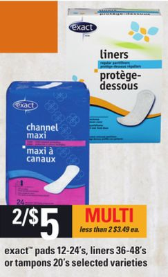 Exact Pads - 12-24's - Liners - 36-48's Or Tampons - 20's