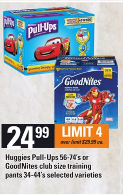 Huggies Pull-ups - 56-74's Or Goodnites Club Size Training Pants - 34-44's