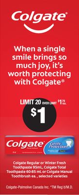 Colgate Regular Or Winter Fresh Toothpaste - 95ml - Colgate Total Toothpaste - 60-85 mL Or Colgate Manual Toothbrush